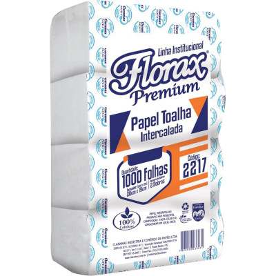 Papel Toalha Branco Interfolhado 1.000 folhas Florax pacote PCT