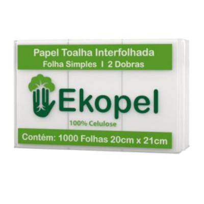 Papel Toalha Interfolha 2 Dobras Folha Simples 20cmx21cm 1.000 folhas Ekopel  pacote PCT