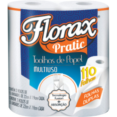 Papel Toalha    2 rolos Florax pacote PCT