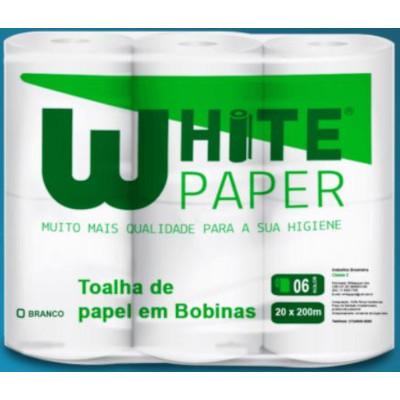 Papel Toalha Rolão Branco ( 6 bobinas de 200m) White Paper pacote PCT