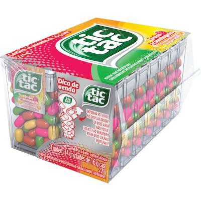 Pastilha sabor frutas 14 unidades de 16g Tic Tac caixa CX