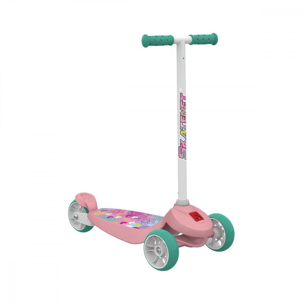 Patinete Skatenet Kid 3 Rodas Flower 1501 Rosa unidade Bandeirante  UN