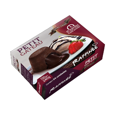 Petit Gateau Extra Cacau para Microondas (4 unidades de 60g) RAFFINÉE caixa UN