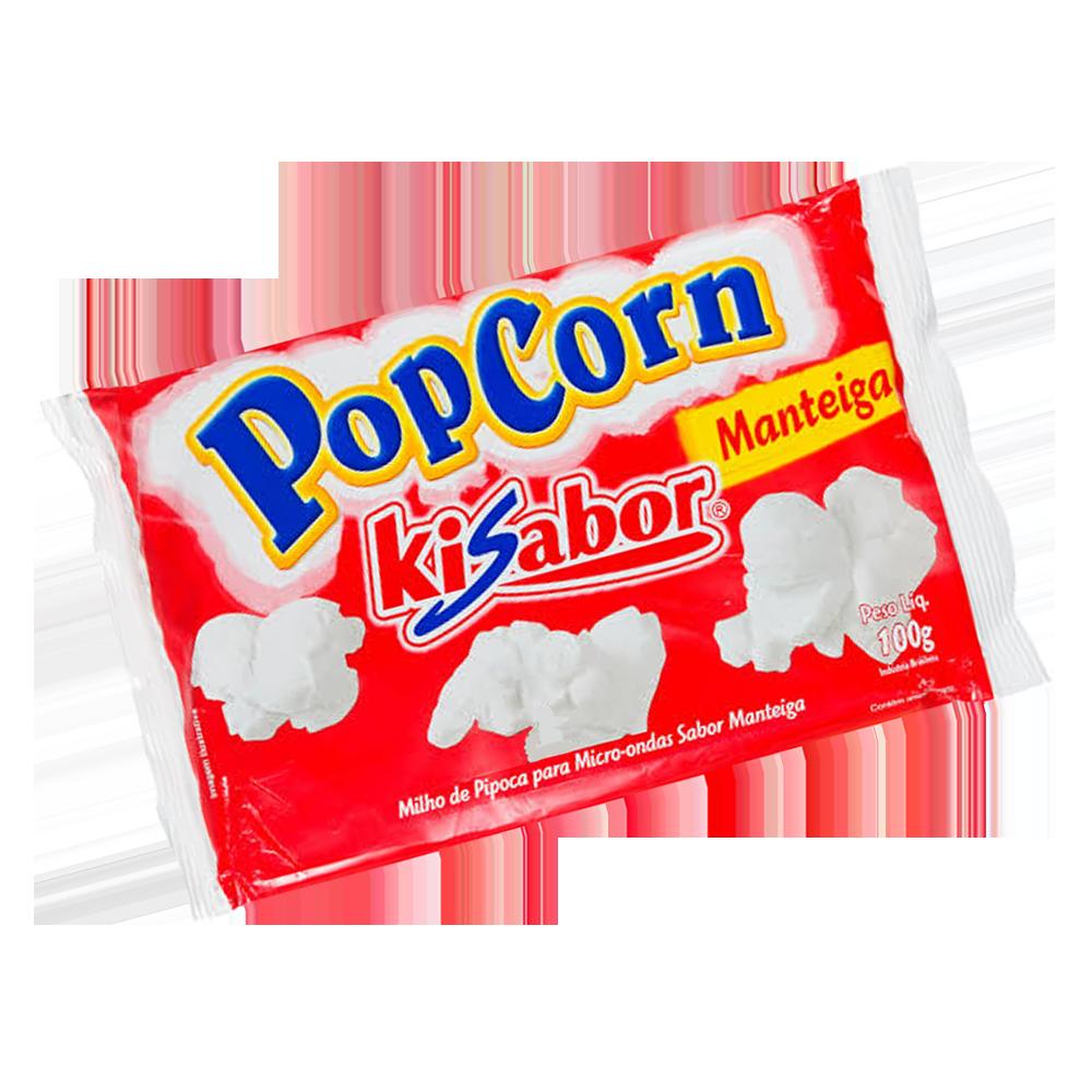 Pipoca de microondas sabor manteiga 100g KiSabor pacote UN