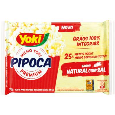 Pipoca de microondas sabor natural com sal 90g Yoki pacote UN