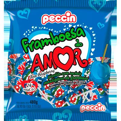Pirulito framboesa do amor 24 unidades Peccin pacote PCT