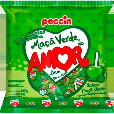 Pirulito maçã verde do amor 24 unidades Peccin pacote PCT
