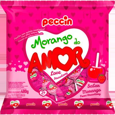 Pirulito morango do amor 24 unidades Peccin pacote PCT