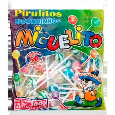 Pirulito sabor frutas (bola) 300g Miguelito pacote UN