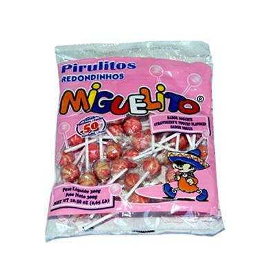 Pirulito sabor iogurte (bola) 300g Miguelito pacote UN