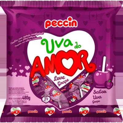 Pirulito uva do amor 24 unidades Peccin pacote PCT