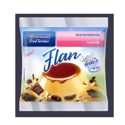 Pó para preparo de Flan sabor papaya 520g Nutrimental pacote PCT