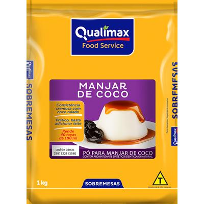 Pó para preparo de Manjar branco sabor coco 1kg Qualimax pacote PCT