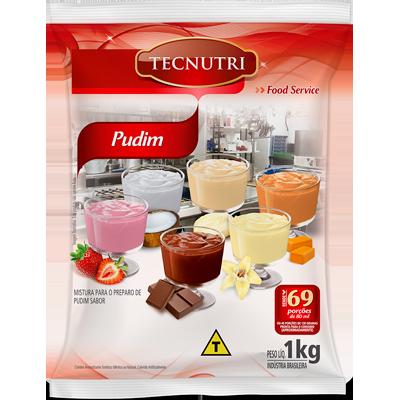 Pó para preparo de Pudim sabor chocolate sem leite 1kg Tecnutri pacote PCT