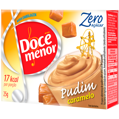 Pó para preparo de Pudim zero açúcar sabor caramelo 25g Doce Menor caixa UN