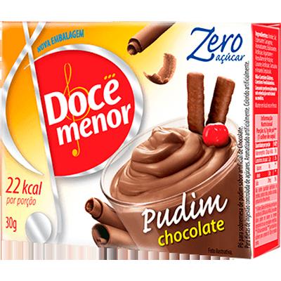 Pó para preparo de Pudim zero açúcar sabor chocolate 25g Doce Menor caixa UN