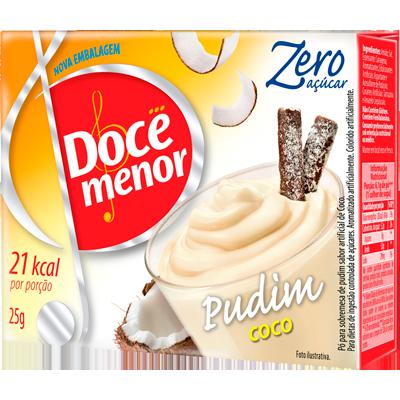 Pó para preparo de Pudim zero açúcar sabor coco 25g Doce Menor caixa UN
