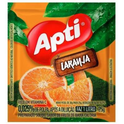 Pó para preparo de suco sabor laranja 25g Apti pacote PCT