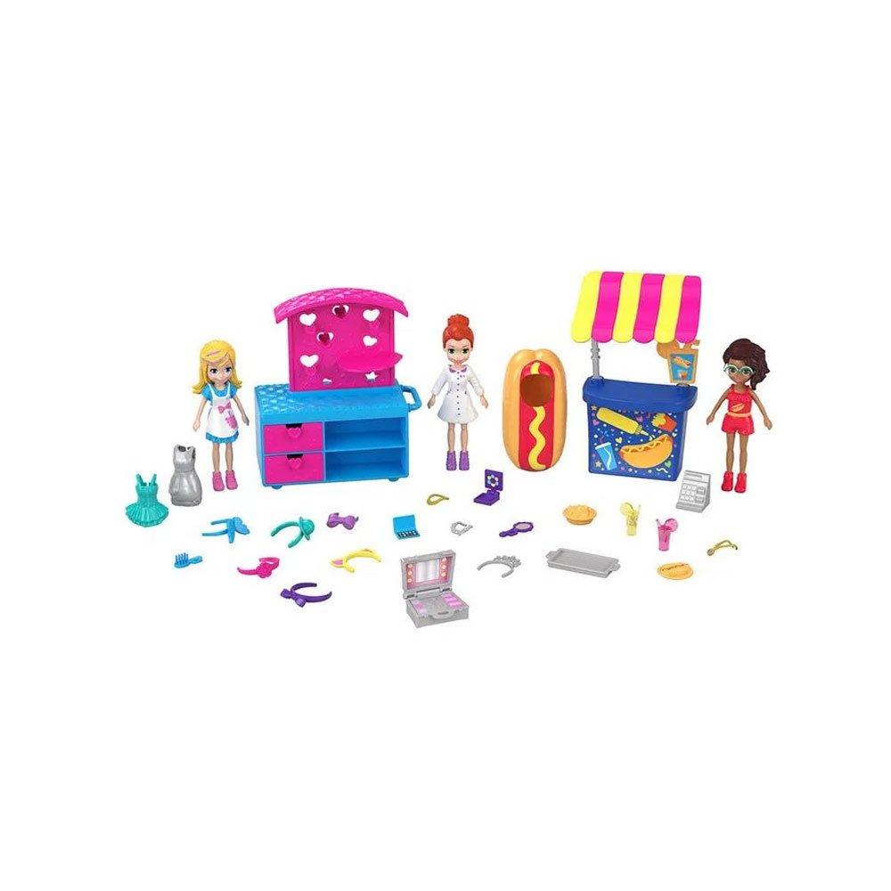 Polly Pocket Nova Polly 3 Bonecas com Quiosque de Lanches Colorido unidade Mattel  UN
