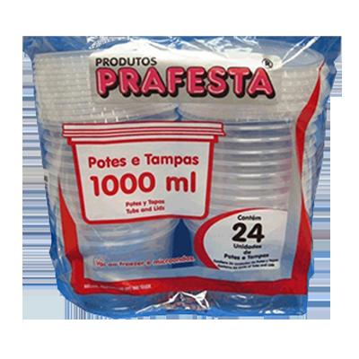 Pote descartável plástico redondo 1000ml 24 unidades Prafesta pacote UN