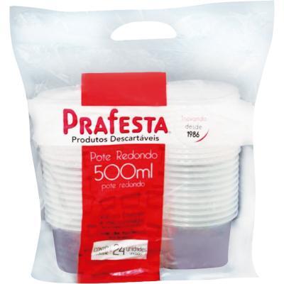 Pote Descartável Plástico Redondo 500ml 24 unidades Prafesta pacote UN