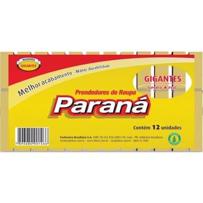 Prendedor de Roupa Madeira Gigante 12 unidades Paraná pacote PCT