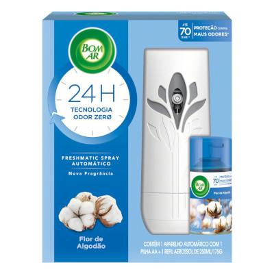 Purificador de Ar Freshmatic aroma toque de algodão 250ml Bom Ar Air Wick aparelho com refil UN