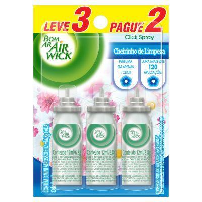 Purificador de Ar Spray aroma Cheirinho de Limpeza Leve 3 Pague 2 03 unidades de 12ml Bom Ar Air Wick refil UN