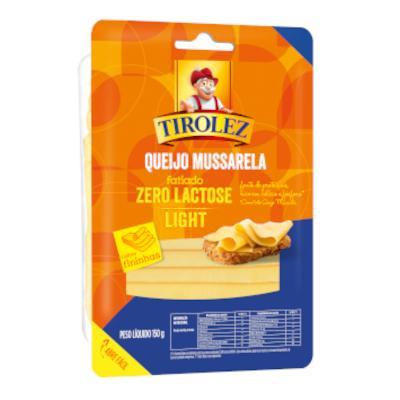Queijo Mussarela Fatiado Light Zero Lactose 150g Tirolez pacote PCT