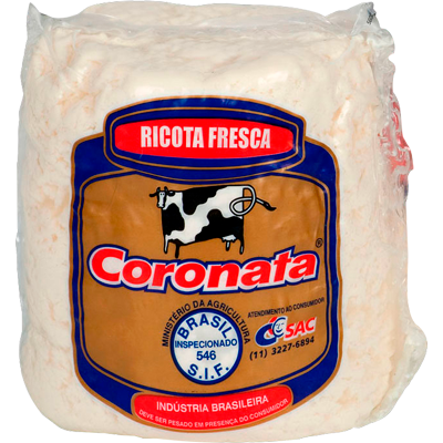 Queijo Ricota fresca por kg Coronata (peça de 750g) KG