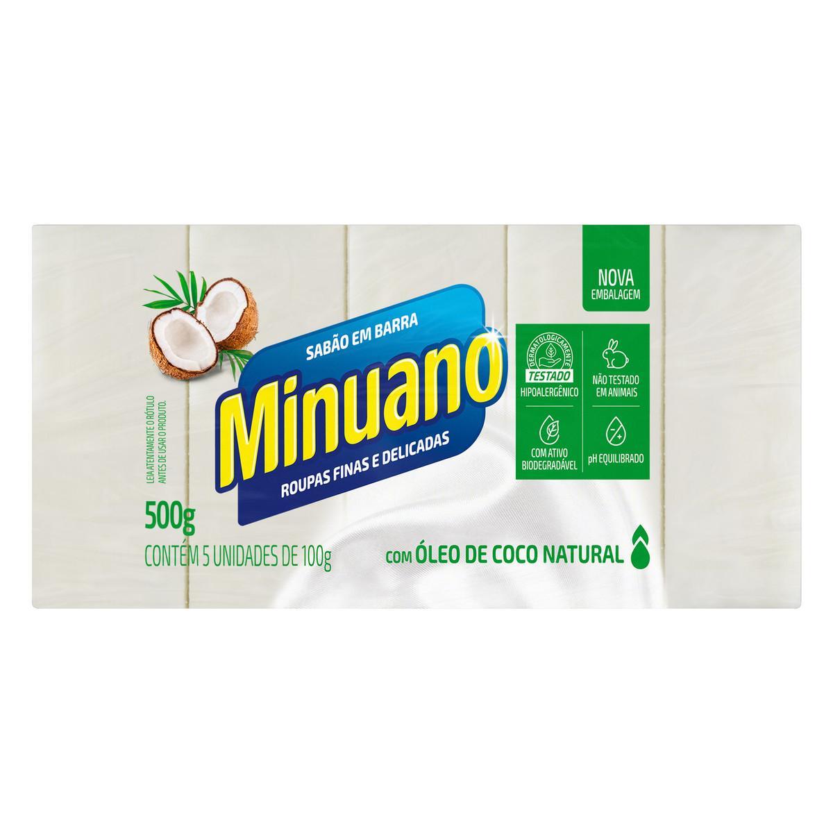 Sabão em Barra Glicerinado de Coco 500g (05 unidades de 100g) Minuano pacote PCT
