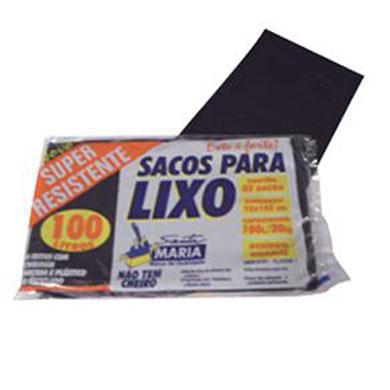 Saco de lixo 100Litros preto 100 unidades Santa Maria/Vip pacote PCT