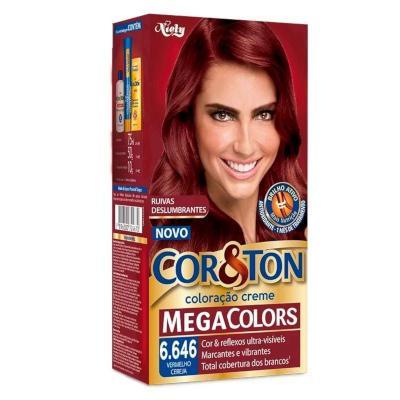 Tintura para Cabelo Permanente 6.646 Vermelho Cereja Mega Colors kit Cor&ton  UN