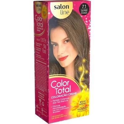 Tintura para Cabelo Permanente 7.1 Louro Médio Acinzentado kit Color Total/ Salon Line  UN