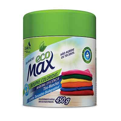 Tira mancha em pó roupas coloridas 450g Ecomax pote UN