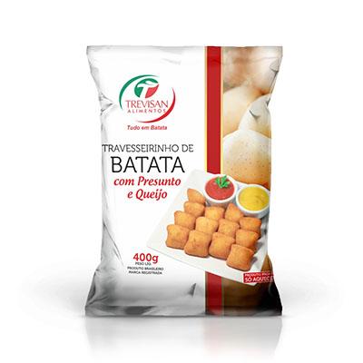 Travesseirinho de Batata com presunto e queijo congelado 25g 400g Trevisan pacote UN