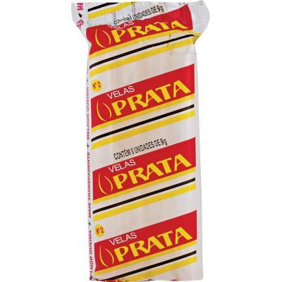 Vela branca n°2 8 unidades Prata pacote PCT