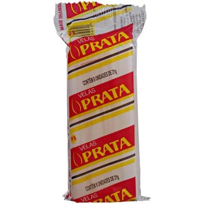 Vela branca n°5 8 unidades Prata pacote PCT